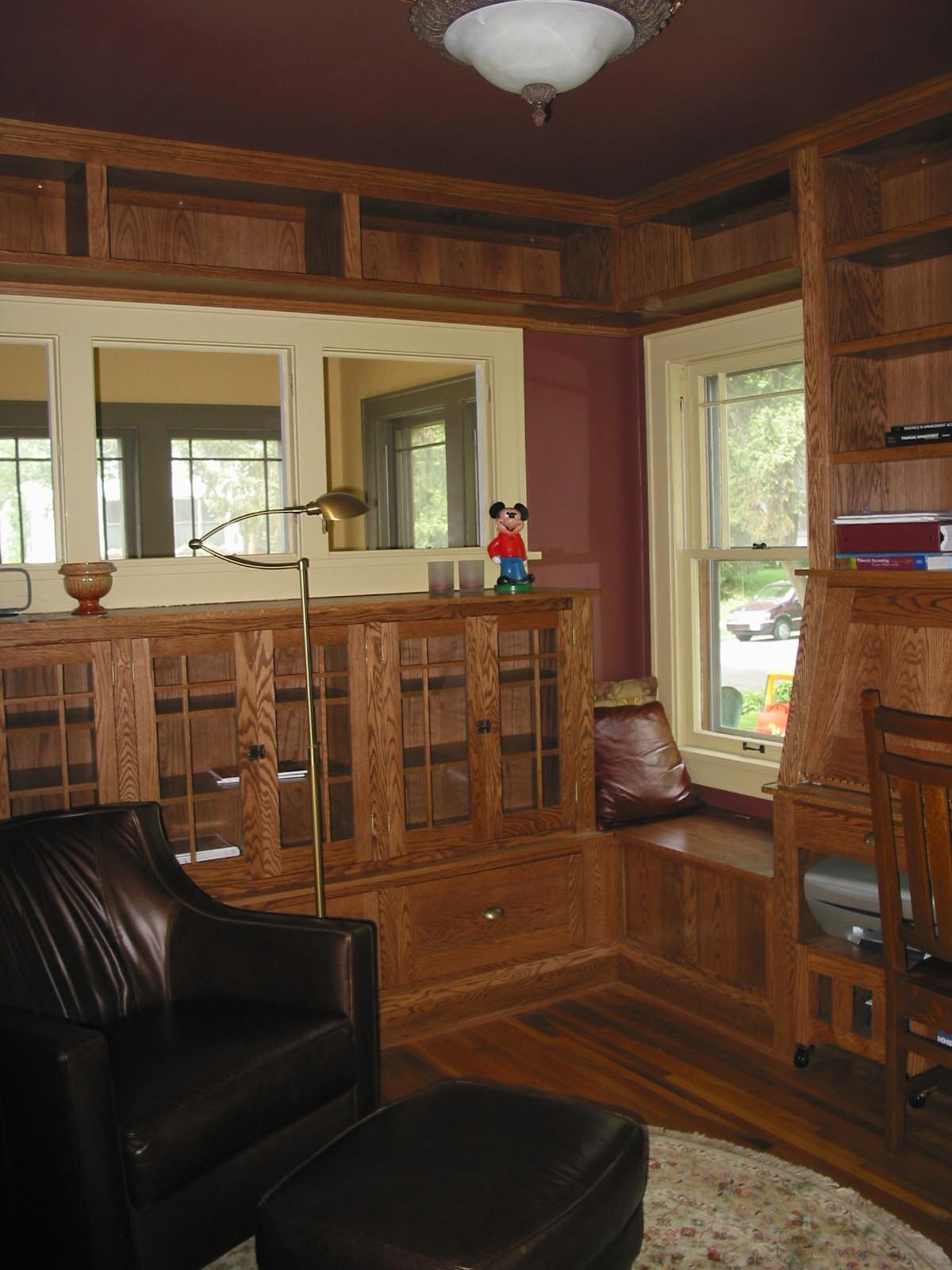 Custom woodwork in den