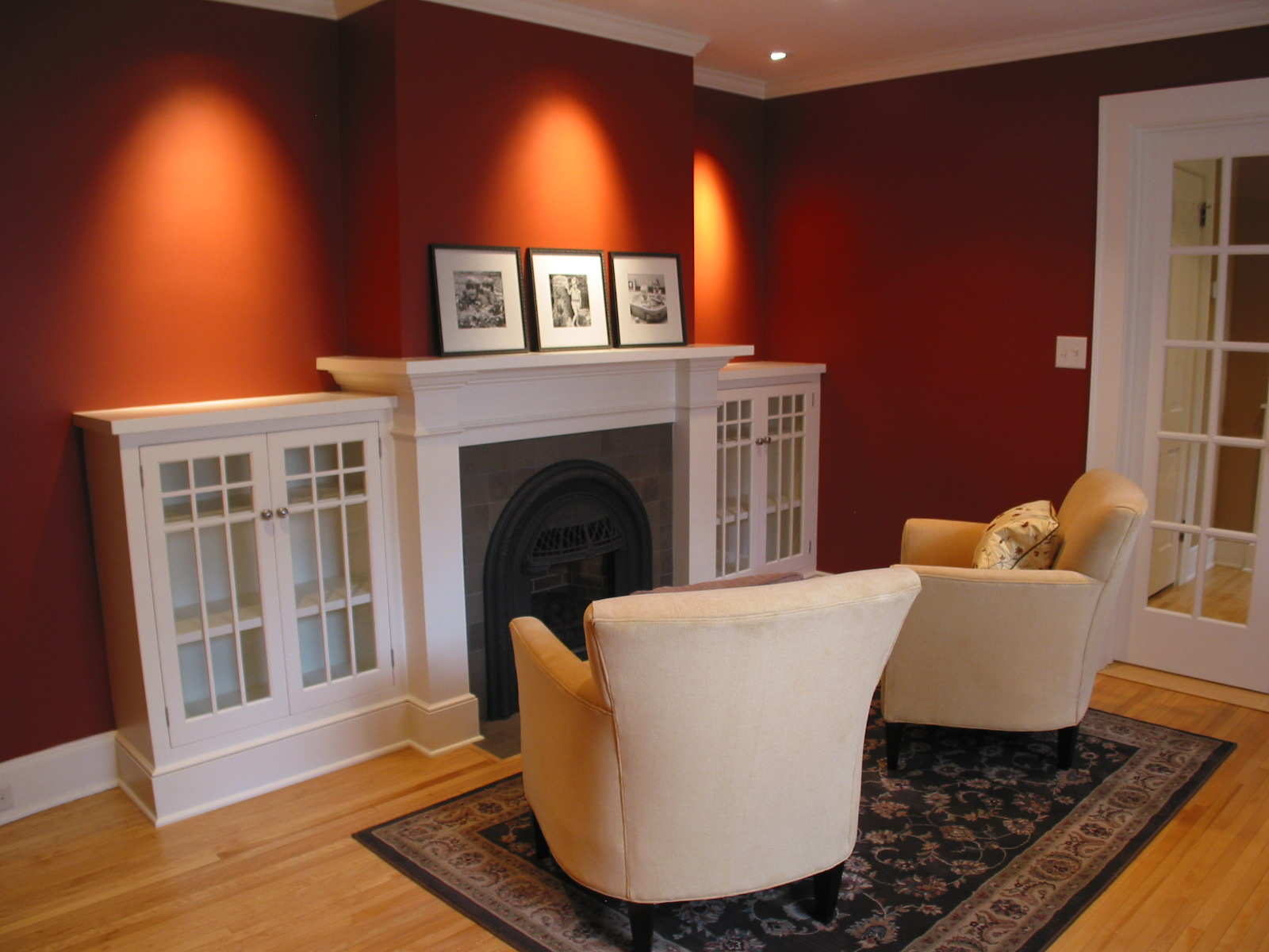 Living room remodel with fireplace and accent lighting
