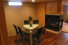 Basement remodel with fireplace