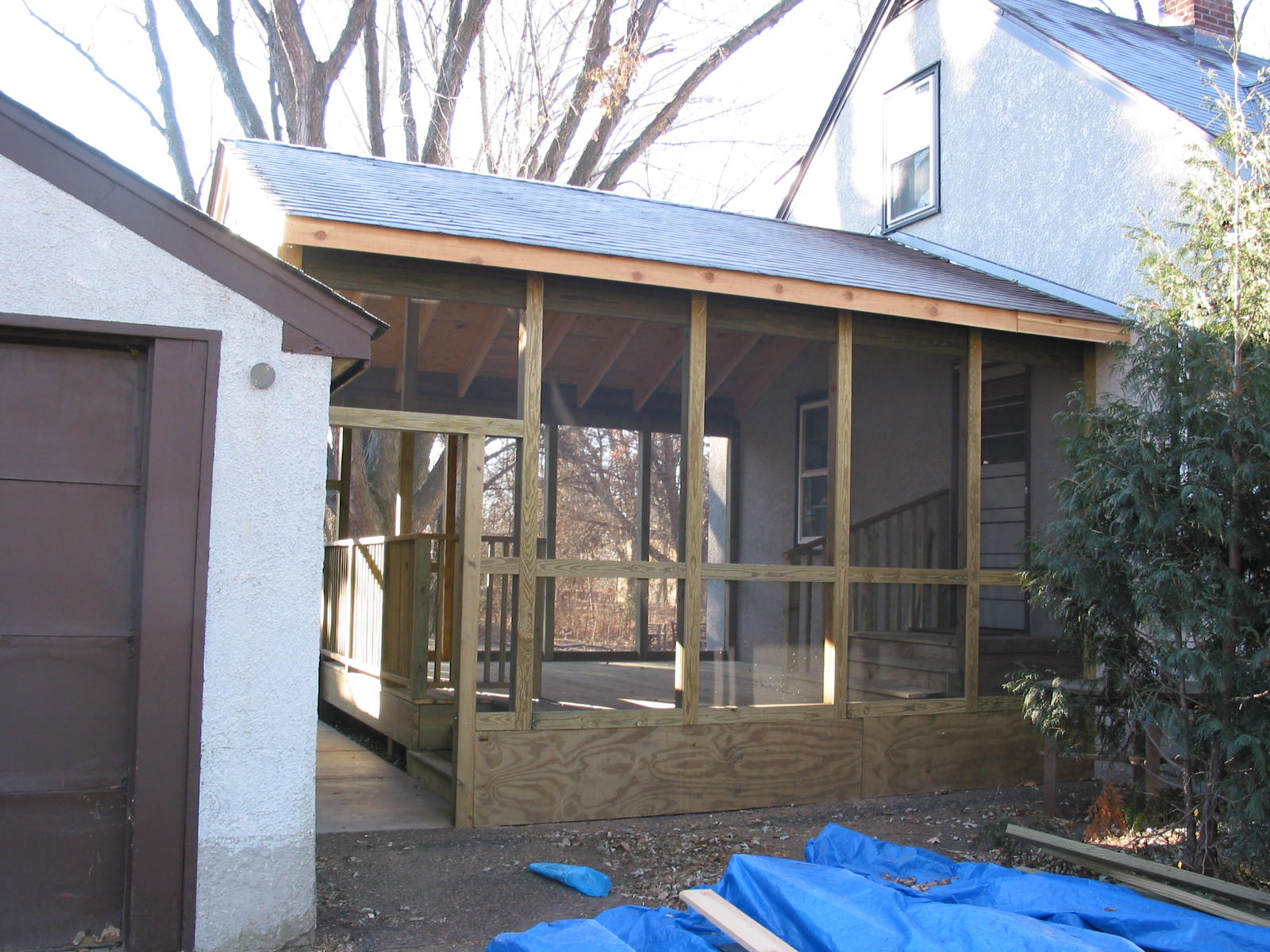 Enclosed porch and walkway